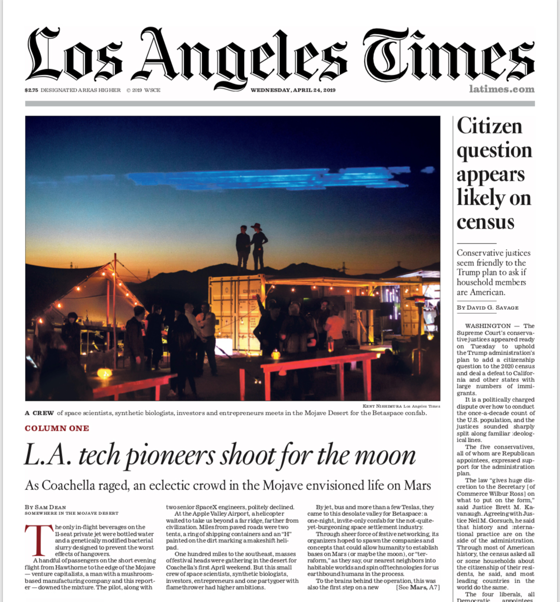 BetaSpace on the L.A. Times front page