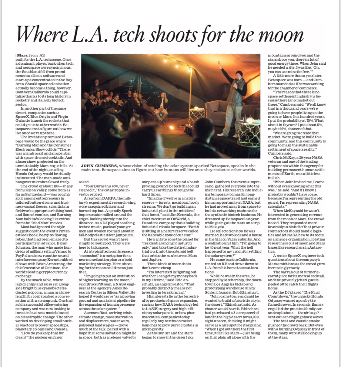 BetaSpace on the L.A. Times front page (Page 3)